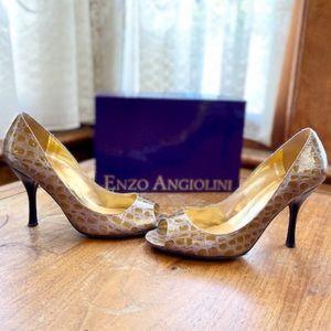 ⏳| NIB | Maylie Embossed Faux Croc Peep Toe Pumps